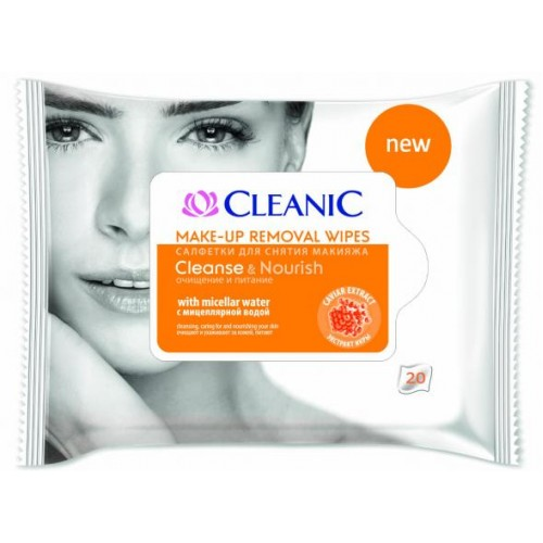CLEANIC Make up removal wipes Cleanse & Nourish, 20 pcs