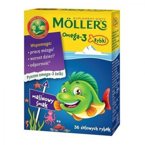 Mollers Omega-3 Fish, jelly beans, raspberry flavor, 36 pcs.