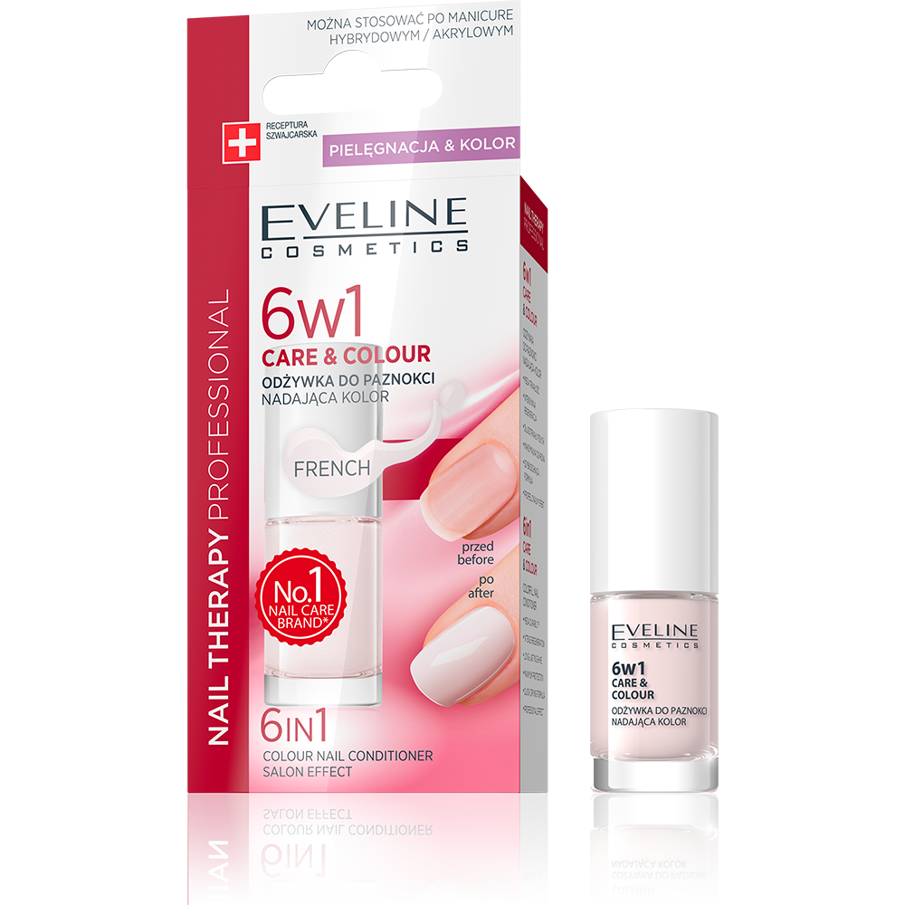 EVELINE 6 IN 1 CARE & COLOUR NAIL CONDITIONER FRENCH 5ml