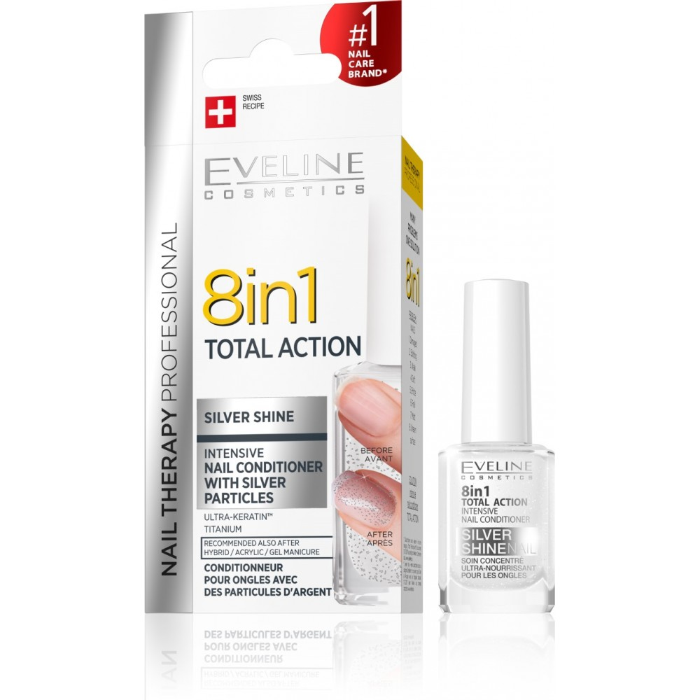 NAIL THERAPY 8 IN 1 TOTAL ACTION SILVER SHINE, 12ml