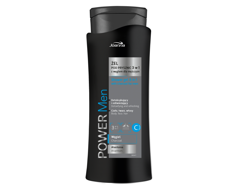 POWER MEN SHOWER GEL 3 IN 1 WITH CHARCOAL, 400ml